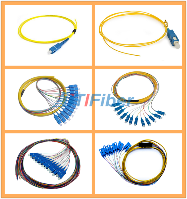 Splicing LC Multimode Fiber Optical Pigtail , 0.9mm 12 colors Fiber Cable