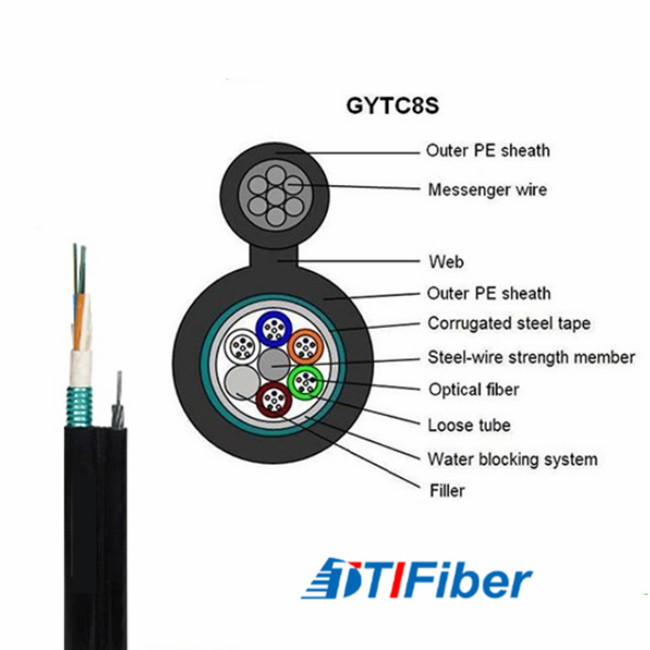 Self Support Amored Fiber Optic Cable GYTC8S FTTH Aerial Installation PE Materiall