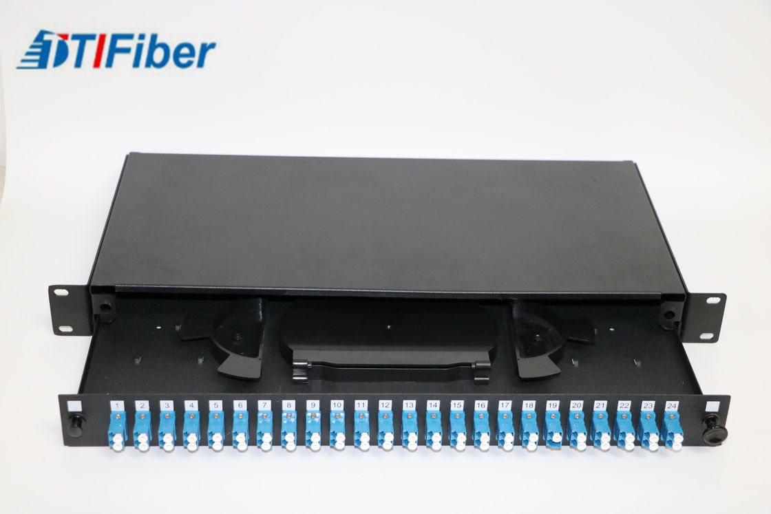 Loaded LC48 Port Fiber Optic Terminal Box With Fiber Optic Patch Panel