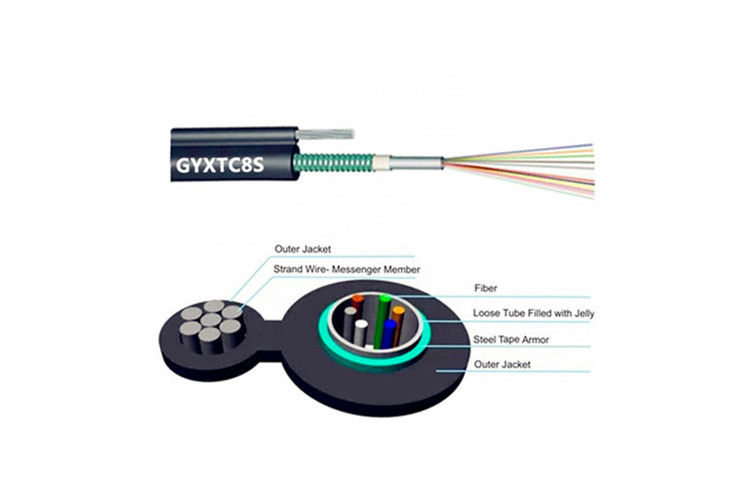GYXTC8S Overhead Duct Fiber Optic Cable G652D Figure 8 Aerial 24 Core PVC LSZH PE Jacket