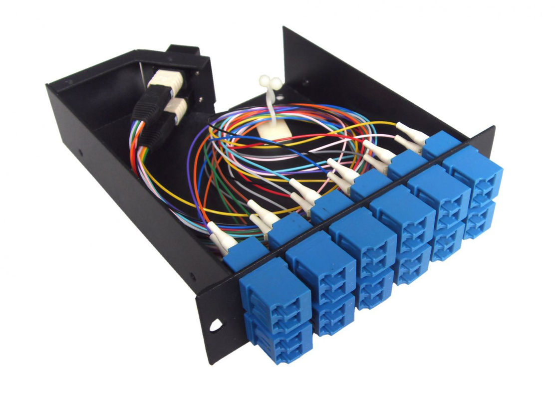 12 SC Connectors anti - shocking MPO Patch Panel for cable wiring system